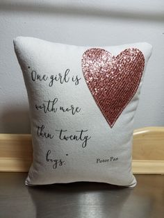 Pillow Wendy throw pillow Peter Pan quote cushion cotton canvas girl glitter home decor