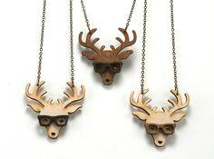 Nerd+Deer+Necklace++Handmade++laser+cut++laser+by+UnpossibleCuts,+$19.95