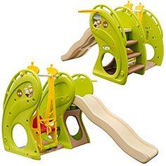 LittleTom Toboggan et Balançoire pour petits enfants 180x110x120cm maison de jeux en plastique vert-marron-beige: Amazon.fr: Jeux et Jouets