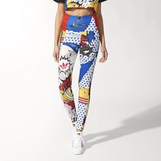 A collaboration between adidas Originals and Rita Ora, these women's leggings flash bright comic book-inspired graphics that reflect the bold style of the singer and fashion icon. The leggings have a curve-hugging fit and fashionable high waist, with 3-Stripes running down the sides. The print's stars, music notes and red lips are pure Rita, who dreamed of fashion design as a teenager browsing the thrift shops of London's Portobello Market.
