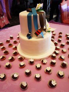 Red Velvet Jujitsu & BJJ Belts - Wedding cake with cake balls.  Bride and Groom requested Red Velvet.