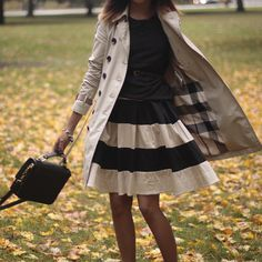 I love trench coats and the stripe skirt