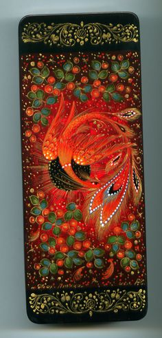"Russian Lacquer Box Palekh ""Firebird"" Hand Painted 