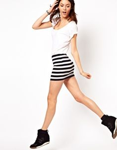 ASOS Micro Mini Skirt in Stripe with wedge sneakers