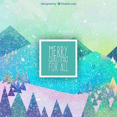 カラフルなクリスマス風景の背景 無料ベクター