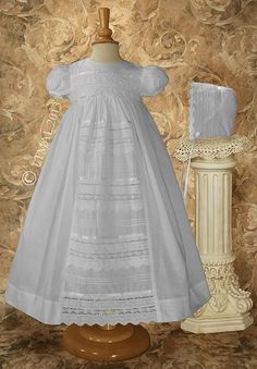 Cotton Gown w/Venise Lace Baptism Outfit,Baptism and Christening Outfits, Dresses & Suits. Lace Christening Gowns, Baptism Dress, Baptism Outfit, Christening Outfit, Baby Christening, Cotton Gowns, Cotton Lace, White Cotton, Blessing Dress