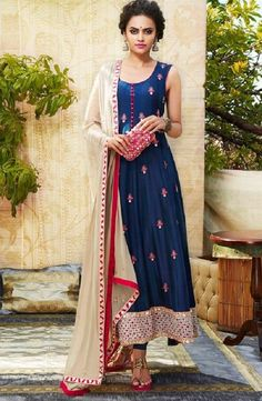 60+Gm+Georgette+Machine+Work+Blue+Semi+Stitched+Long+Anarkali+Suit+-+NBB at Rs 1599