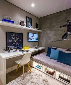 Boys bedroom desk space and under bed storage. Boys bedroom desk space and under bed storage. Bedroom Desk, Small Room Bedroom, Trendy Bedroom, Desk Bed, Budget Bedroom, Small Bedroom Layouts, Tiny Bedroom Storage, Small Bedroom Interior, Small Bedroom Designs