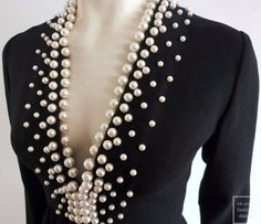Vintage DONALD BROOKS Pearl beaded black crepe dress (=) The most beautiful and newest outfit ideas Fashion Details, Diy Fashion, Ideias Fashion, Fashion Design, Robes Vintage, Vintage Dresses, Designer Evening Dresses, Crepe Dress, Diy Clothing