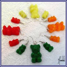 Gummy bears. Earrings and pendants. Made from polymer clay