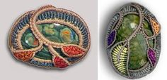 Cavandoli Cabochon Setting with Leaves & Flowers Macrame Necklace, Macrame Jewelry, Macrame Patterns, Crochet Patterns, How To Make Rope, Wire Crochet, Stone Wrapping, Macrame Projects, Celtic Designs