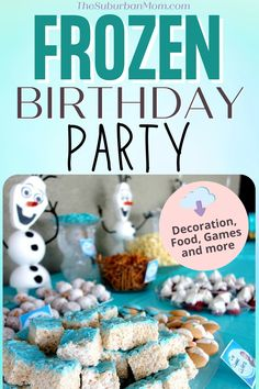 """Remember when Oaken said """"Hoo-hoo! Big summer blowout""""? We can't blame him; I mean who doesn't want a Frozen themed party in the middle of summer? And who doesn't love Elsa, Olaf and Anna? Check out these easy and fun Frozen birthday party ideas, which will have you singing and dancing to Let It Go in no time! From party supplies, decorations, games to treats and sweets, we've compiled it all just for you, for a beautiful Frozen summer wonderland! Because some parties are worth melting for! Frozen Theme Party, Frozen Birthday Party, Birthday Parties, Birthday Party Decorations, Party Themes, Party Ideas, Elsa Frozen, Elsa Olaf, Frozen Summer"""