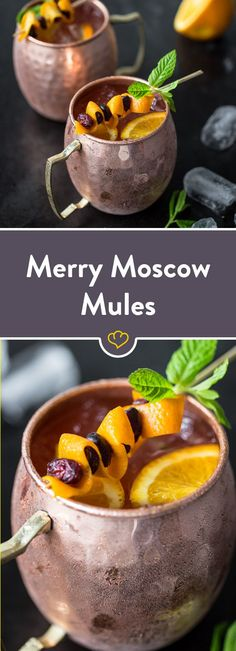 classic as a winter edition: Merry Moscow Mules - You can't get past the Moscow Mule right now. Here the classic is served with cranberry juice -The classic as a winter edition: Merry Moscow Mules - You can't get past the Moscow . Healthy Eating Tips, Healthy Recipes, Yummy Smoothie Recipes, Snacks Für Party, Vegetable Drinks, Cocktail Recipes, Asian Recipes, Cheers, Food And Drink