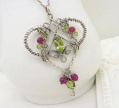 Green peridot necklace Sterling silver by CreativityJewellery