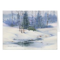 Susie Short's winter landscape watercolor greeting cards and note cards are all quality reproductions of her original watercolor paintings designed for Christmas and Holidays. Watercolor Trees, Watercolor Cards, Watercolor Landscape, Landscape Paintings, Watercolor Paintings, Watercolours, Winter Painting, Winter Art, Art Aquarelle