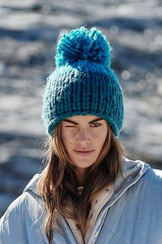 Cozy Up Color Block Pom Beanie by Free People, Blue, One Size Stay Warm, Warm And Cozy, Winter Wardrobe Essentials, Buy Hats, Getting Cozy, Gifts For Teens, Inspirational Gifts, Knit Beanie, Pom Poms
