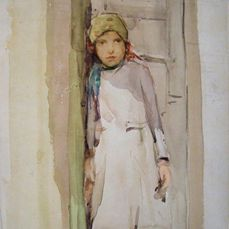 Could this be the Greek Count's girl? (Liberty Silk, page 90) It was painted by Scotch