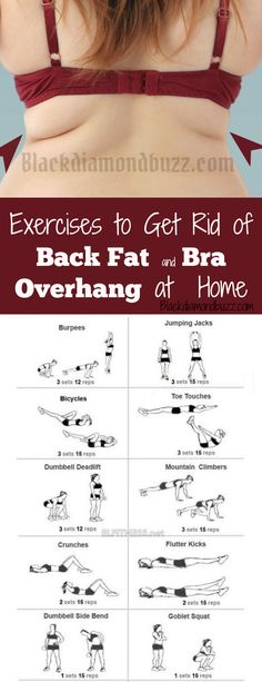 Exercises to Get Rid of Back Fat and Bra Overhang at Home. Included here is How to Lose Armpit Fat Fast at Home with easy Workout. #fitness #health #backfat #women
