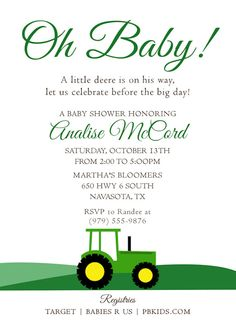 Printable Baby Shower Invitation Tractor Theme | John Deere