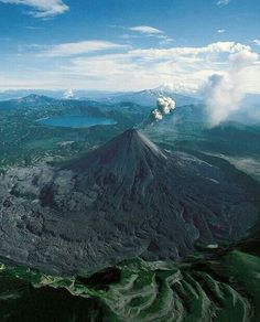 Karymsky is a stratovolcano on the Kamchatka Peninsula, Russia. It is the most active volcano on the Kamchatka Peninsula,