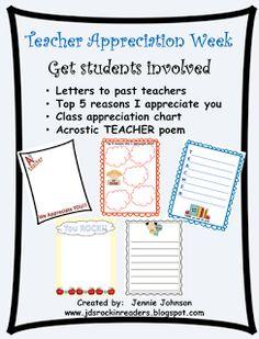 Top 5 Reasons I Appreciate You, Acrostic Teacher Poem