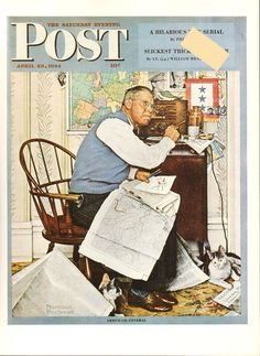 Items similar to Norman Rockwell Original Vintage Saturday Evening Post Cover from April 1944 for Framing or Display Wonderful Color Cover Wall Art Print on Etsy Norman Rockwell Prints, Norman Rockwell Paintings, The Saturdays, Magazin Covers, Saturday Evening Post, Vintage Art Prints, Artist Gallery, Vintage Magazines, Edward Hopper