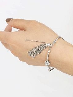 Silver Tassel Rhinestone Detail Adjustable Bracelet