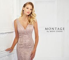 Montage By Mon Cheri 118975 - Refreshingly unique, this sleeveless ribbon work fit and flare gown accented with hand-beading offers a deep V-neckline, an empire waist, a scoop back, and a sweep train. A matching shawl is included.