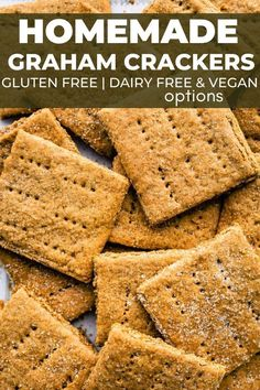 Made with almond flour, gluten-free oat flour/ oats, and non-dairy milk, these Gluten-Free Graham Crackers are a year round recipe essential for all your allergy-friendly needs! Make them ahead of time for the perfect s'mores, easy icebox cakes, and more. Vegan options included. Healthy Dessert Recipes, Vegan Snacks, Healthy Snacks, Snack Recipes, Free Recipes, Vegan Recipes, Savory Snacks, Baking Recipes, Gluten Free Graham Crackers