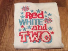 Red White and Two Birthday shirt name shirt embrodered by lettersandlollipops on Etsy