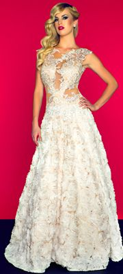 Mac Duggal Prom 2013 - Ivory & Nude Organza & Lace Illusion Gown