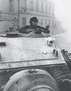 King Tiger commander from schwere Panzer-Abteilung 503 photographed in Budapest, Hungary, October 1944.