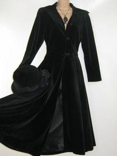 LAURA ASHLEY Vintage 80's Black Velvet by VintageLauraAshley