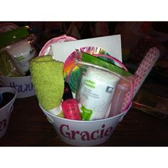 Party Favors for Slumber Party   Spa slumber party favors. Little plastic baskets from ...   party ide ...