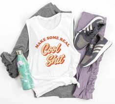 Make Some Real Cool Shit Muscle Tank - Funny Creative Women Tank - Cute Art Tank Top - HighCiti
