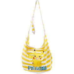 Pokemon Pikachu Yellow White Stripe Hobo Bag | Hot Topic ($9.75) ❤ liked on Polyvore featuring bags, handbags, shoulder bags, pokemon, accessories, pikachu, striped purse, yellow hobo handbags, hobo shoulder bags and yellow purse