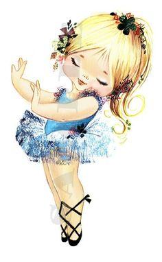 Vintage bailarina rubia chica BG2 digital descargar por pixygirl2, $2.00