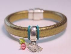 Metallic Gold Licorice Leather bracelet with by OllieBooJewelry, $40.00#crafyab #ollieboojewelry #YEG #Leather #Metallic