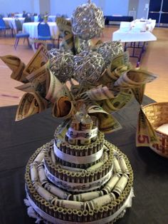 Money Cake/Tree. Had fun creating this for our Music Minister's 30 year ministry recognition!