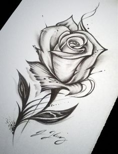Pencil Art Drawings, Art Drawings Sketches, Tattoo Sketches, Easy Drawings, Tattoo Drawings, Best Sketches, Flower Tattoo Designs, Flower Tattoos, Rose Zeichnung Tattoo
