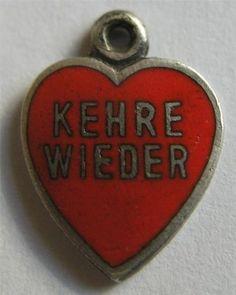 German Silver Enamel Heart Charm 'Come Back To Me'