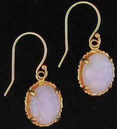 Natural Lavender Jadeite Jade Carved Ovals 14K Yellow Gold Hook Earrings #MasonKay