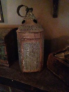 Exceptional-Early-Circa-1820s-Punched-Tin-Lantern-Original-Early-Sage-Paint