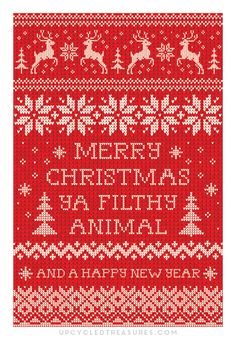 "FREE Printable Christmas Cards with the quote ""Merry Christmas Ya Filthy Animal"""