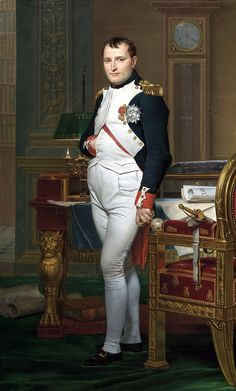 'The Emperor Napoleon in His Study at the Tuileries' (1812) by court- favored French artist, Jacques-Louis David (1748-1825).  Napoleon Bonaparte (1769-1821) was a French military & political leader from Corsica who rose to prominence during the latter stages of the French Revolution.  He was Emperor of France from 1804-1815.  The French empire under Napoleon staged a series of conflicts - the Napoleonic Wars - involving every major European power.