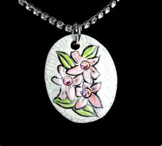 Pink Hawaiian Flower Sparkle Surly Necklace with by surly on Etsy, $48.00