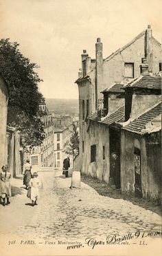 Vieux Montmartre, rue du Mont-Cenis. Have old family photos and albums? Scan them with iPhone or iPad + Pic Scanner app. Click to try it free.                                                                                                                                                      More