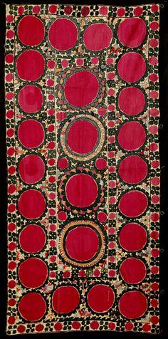 uzbek Tashkent Suzani – Uzbekistan, 19th c, silk, cotton. 3'4″ x 6'10″ (102cm x 208cm)
