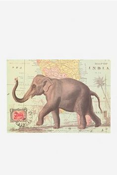 Elephant Map Poster. Map of India. Urban Outfitters Apartment.