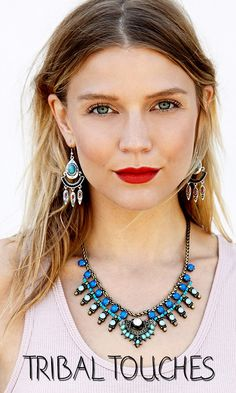 Tribal-inspired stone earrings and statement necklace